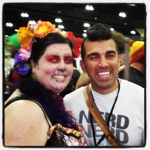 Caught Bobak Ferdowsi at Comikaze 2013- yes, JPL's own Mohawk Guy! I totally squee'ed. (and for the record, I was in Day of the Dead makeup... )
