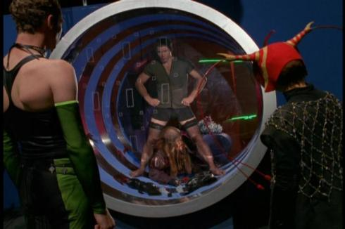 John Crichton stars as Frankenfurter in an off-galaxy production of the Rocky Horror Picture Show..