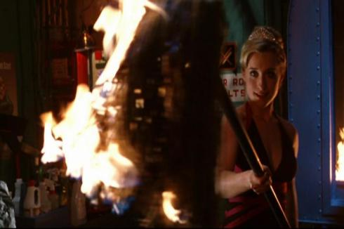 The new Chloe Sullivan action figure, complete with fire-mop action.
