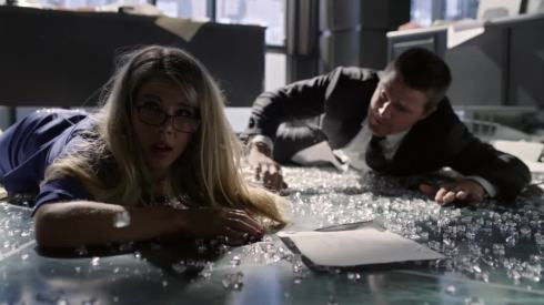 Felicity Smoak and her apparently adamantium made glasses survive another brush with disaster.  And Ollie's fine, too.
