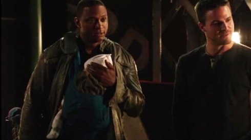 Diggle with baby Bjorn.  Knowing his luck, I hope its bulletproof.  But still, awwwwwww...