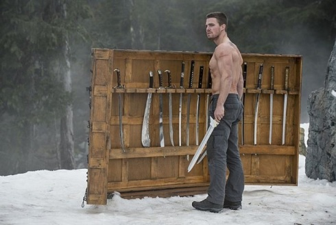 Oliver Queen endorses the League of Assassins sword rack: For all your assassinating and duel to the death needs!